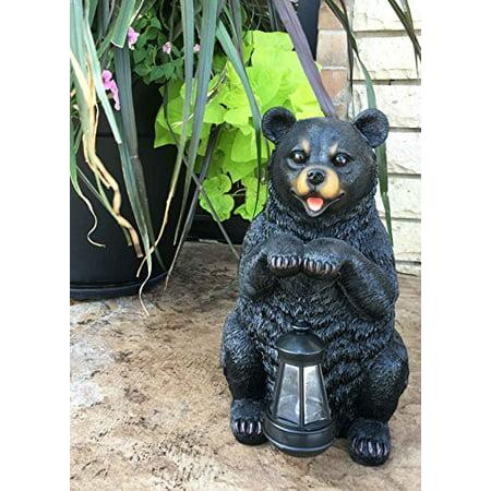 Rustic Garden Decorative Adorable Black Bear Holding Lantern Greeter Statue Figurine Solar LED Lantern Path Light For Outdoor Home Beautification ()