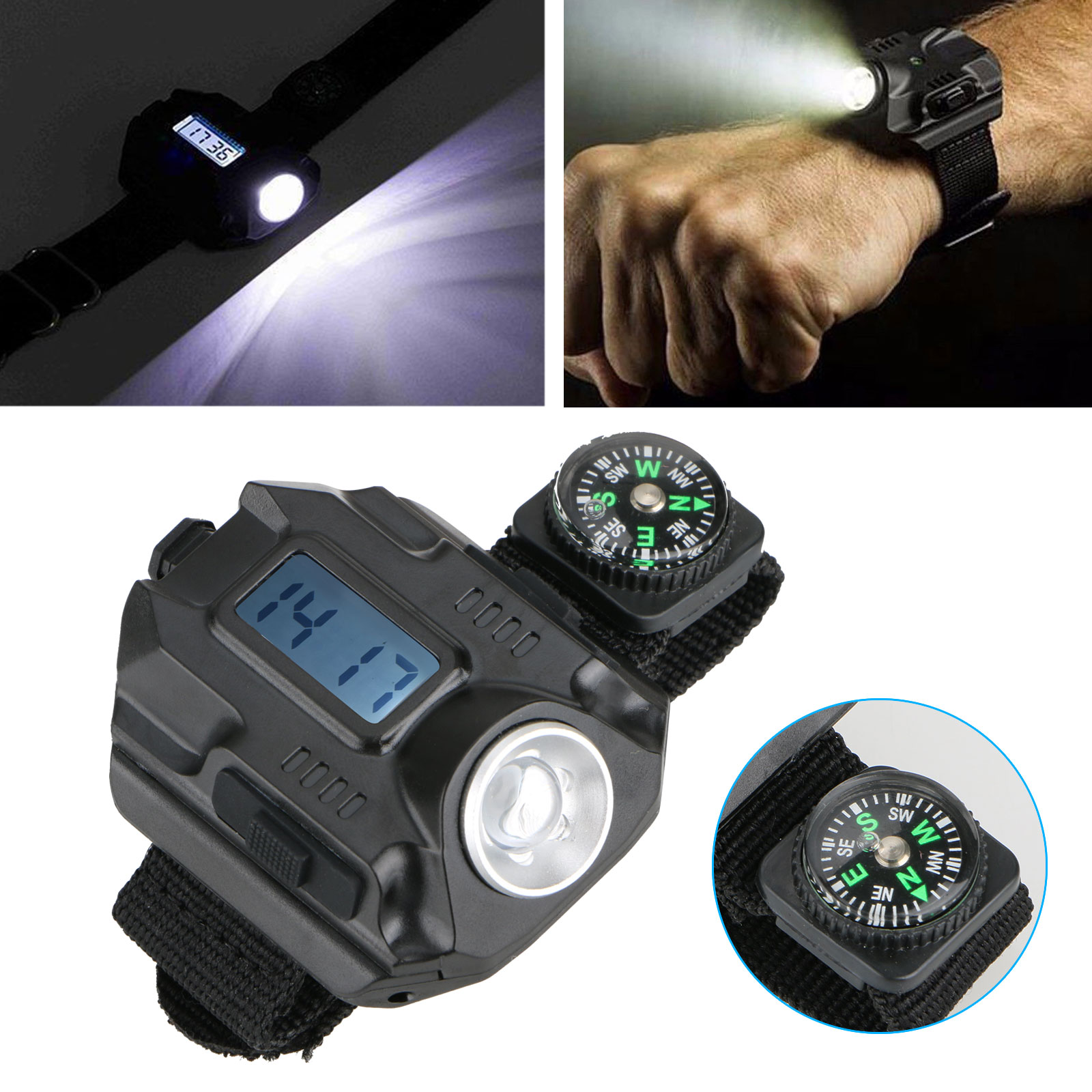 LED Rechargeable Wrist Watch Flashlight, Super Bright Waterproof LED Wristlight with Compass Tactical Flashlights for Outdoor Running, Hiking, Camping, Biking
