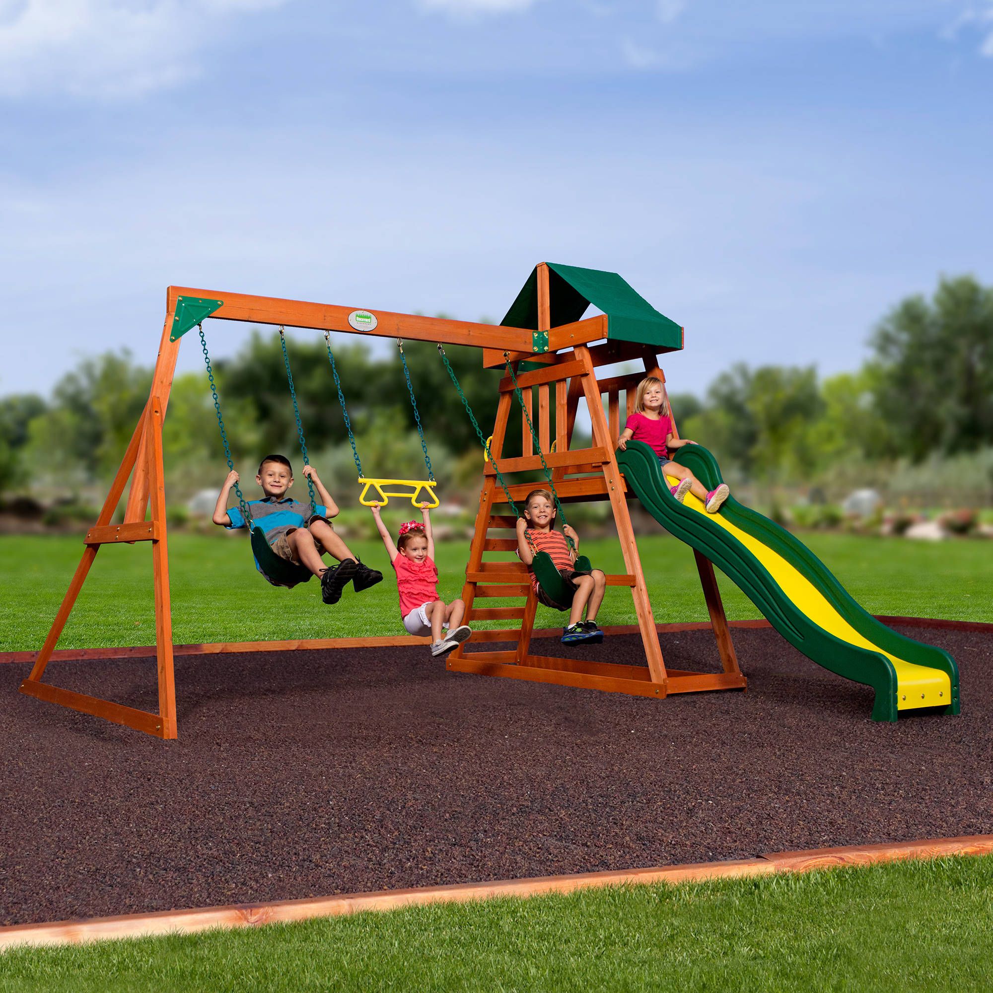 wooden swing playsets backyard discovery ridge thunder products set