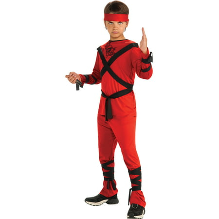 Child's Red Ninja Samurai Warrior Costume Boys Small 4-6