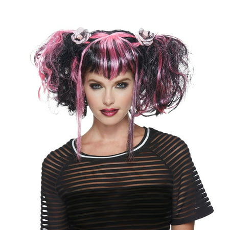 Black and Pink Bad Fairy Adult Halloween - Black Pink Wig