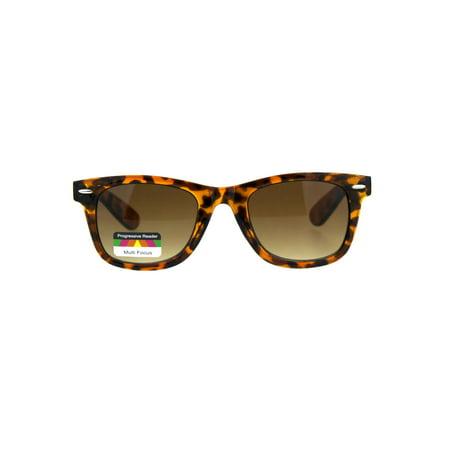 Retro Horn Rim Multi 3 Focus Progressive Sun Reader Sunglasses Tortoise Brown 1.0 (Retro Sunglasses Cheap)