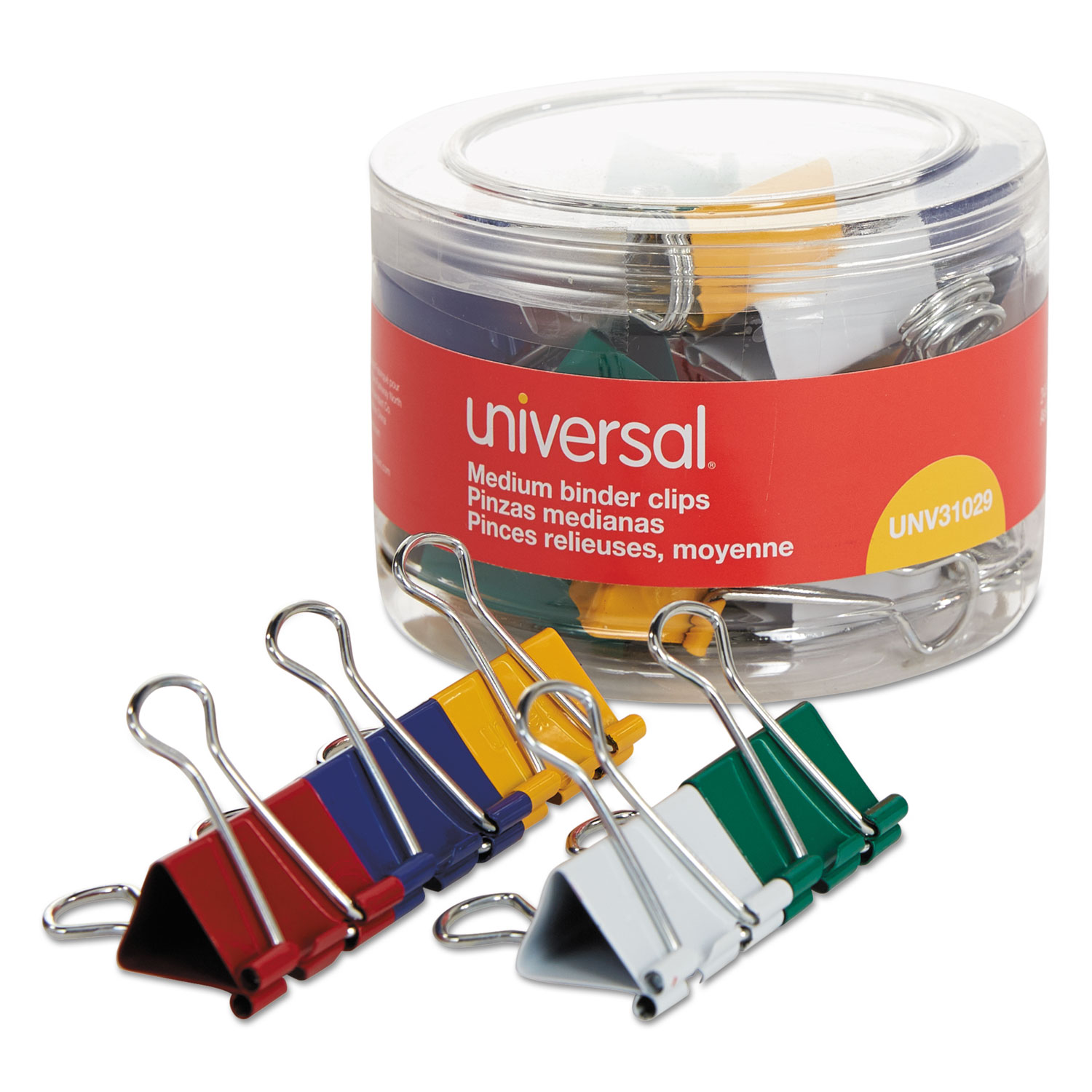 "Medium Binder Clips, 5/8"" Capacity, 1 1/4"" Wide, Assorted Colors, 24/Pack"