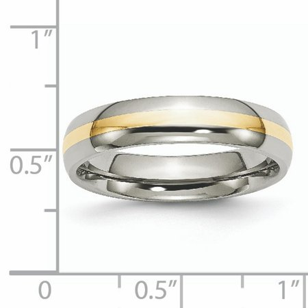 Titanium 14k Yellow Inlay 5mm Wedding Ring Band Size 8.50 Precious Metal Fine Jewelry For Women Gifts For Her - image 8 of 10