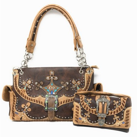 Texas West Premium Western Buckle Embroidery Concealed Carry Handbag Purse Wallet in Multi Colors (Concealed Wallet)