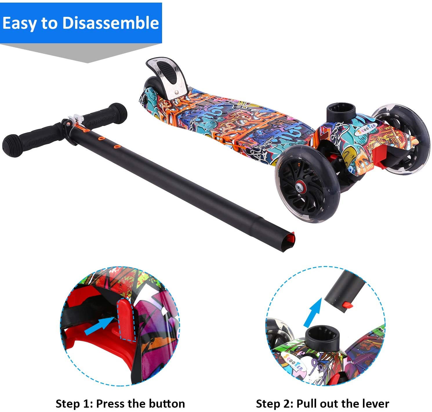Kick Scooter for Toddlers Girls /& Boys with LED Light Up Scooters Wheels Hikole Scooter for Kids Adjustable Height Scooter for Children Ages 3-12