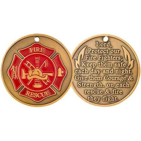 FireFighter Challenge Coin or Prayer Token with Maltese Cross Deluxe(Pkg of 2)