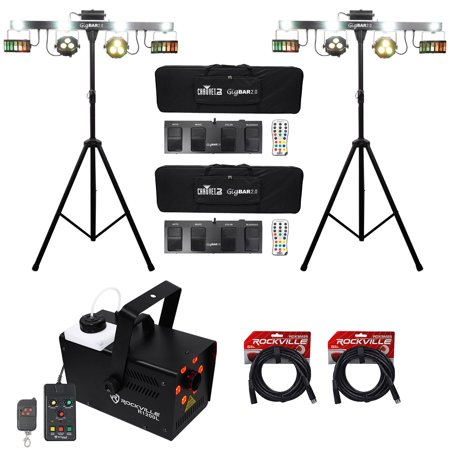 (2) Chauvet GigBar 2.0 DMX LED 4-In-1 Light FX Bars w/Stands+Fogger+DMX (Led Fx Pak)