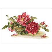 Roses In Tea Bowl Counted Cross Stitch K