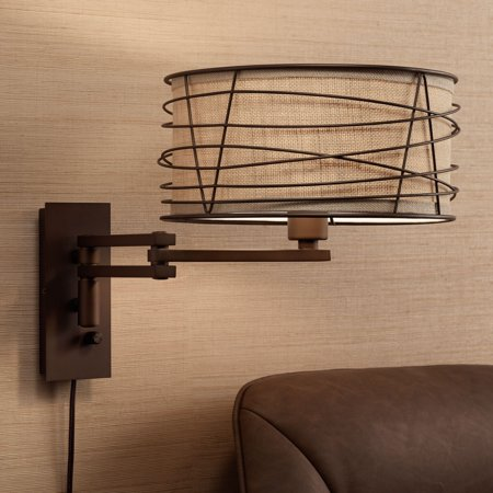 Franklin Iron Works Marlowe Bronze Metal Swing Arm Wall Lamp Carbon Works Swing Arm