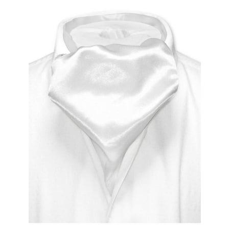 Ascot Tie - Biagio ASCOT Solid WHITE Color Cravat Men's Neck Tie
