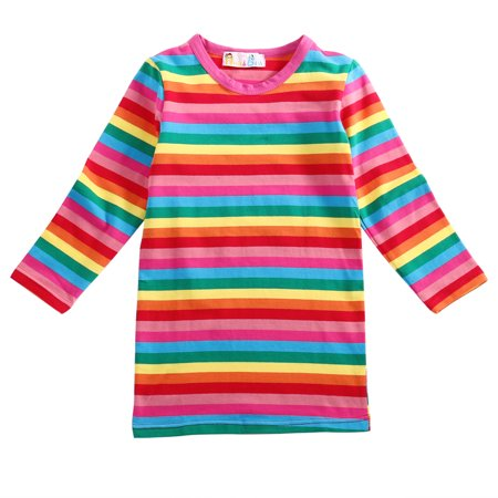 Toddler Kids Girls Rainbow Striped Cotton Dress Long Sleeve Pullover Blouse Top Spring Autumn - Baby Girl Rainbow Dress