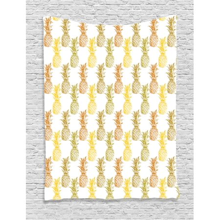 Pineapple Tapestry, Hand Drawn Simply Sketched Stamp Minimal Background Pineapples, Wall Hanging for Bedroom Living Room Dorm Decor, Mustard Cinnamon Olive Green, by Ambesonne