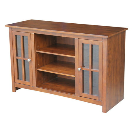 Entertainment TV Stand with 2 Doors Brown 48u0022 - International Concepts