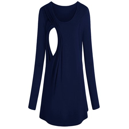 fb27d62dc02 Women s Long Sleeve Maternity Layered Nursing Tops For Breastfeeding Bouse  - Walmart.com