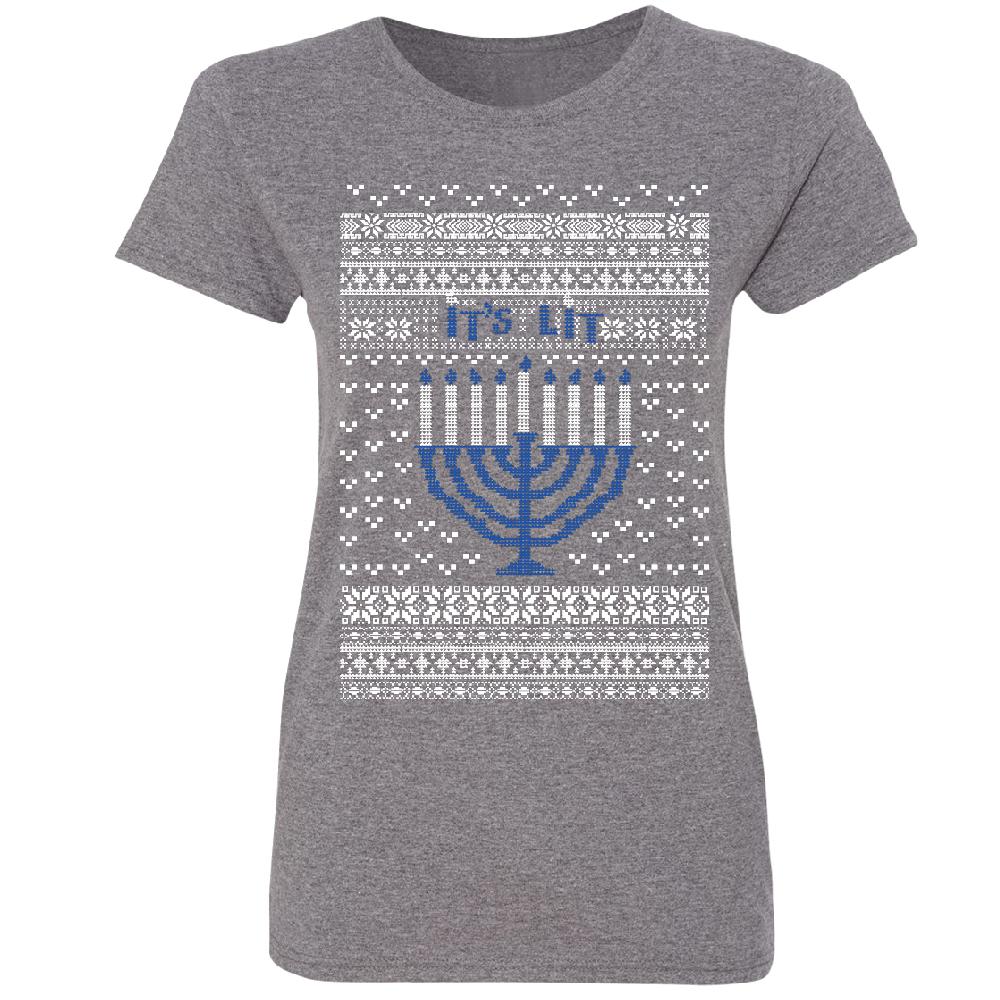 Ugly Sweater Its Lit Hanukkah Menorah Womens T Shirt Christmas