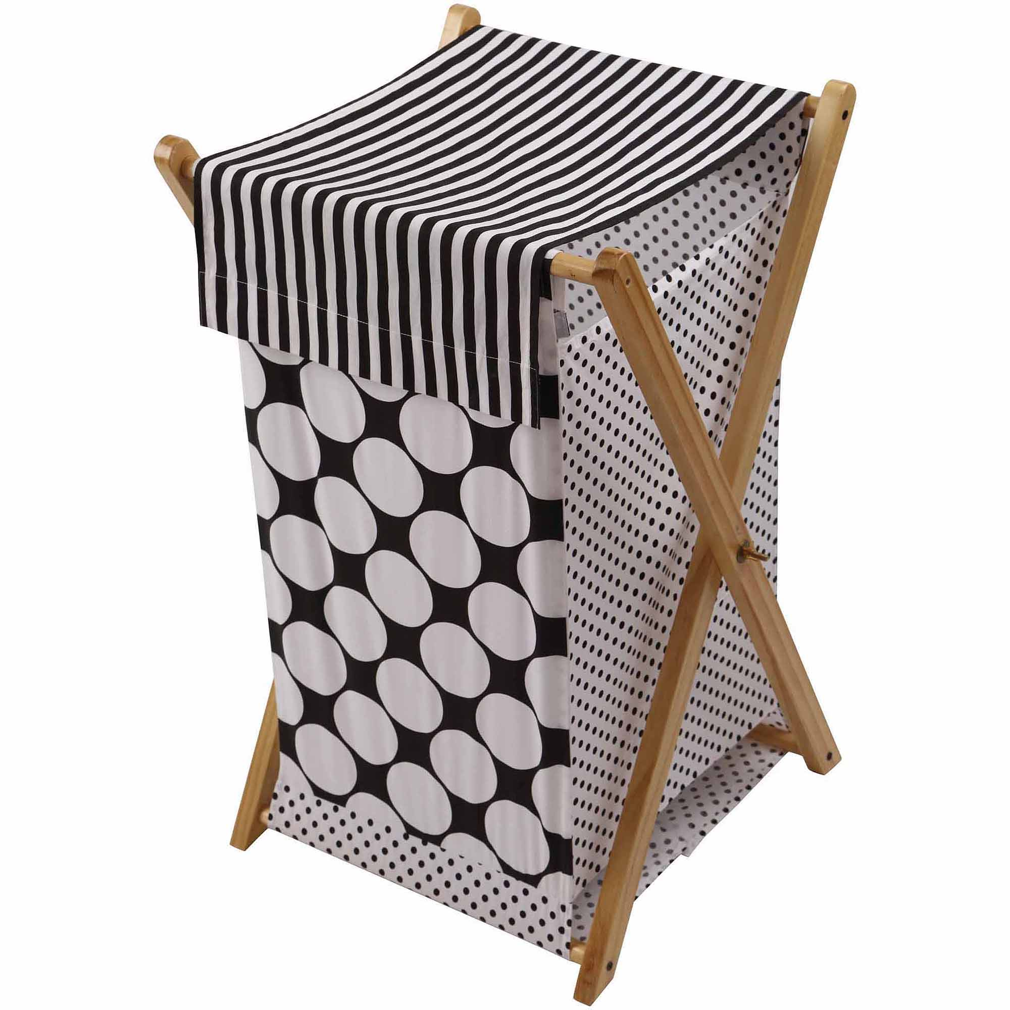 Bacati Dots Pin Stripes Hamper with Cotton Percale cover, mesh liner and Natural Color Wooden frame, Black White by Bacati