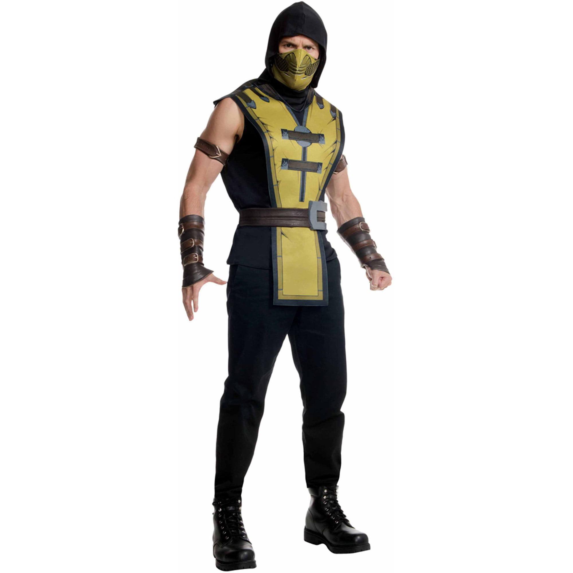 Ninja Halloween Costume Men.Mortal Combat Scorpion Mens Halloween Costume