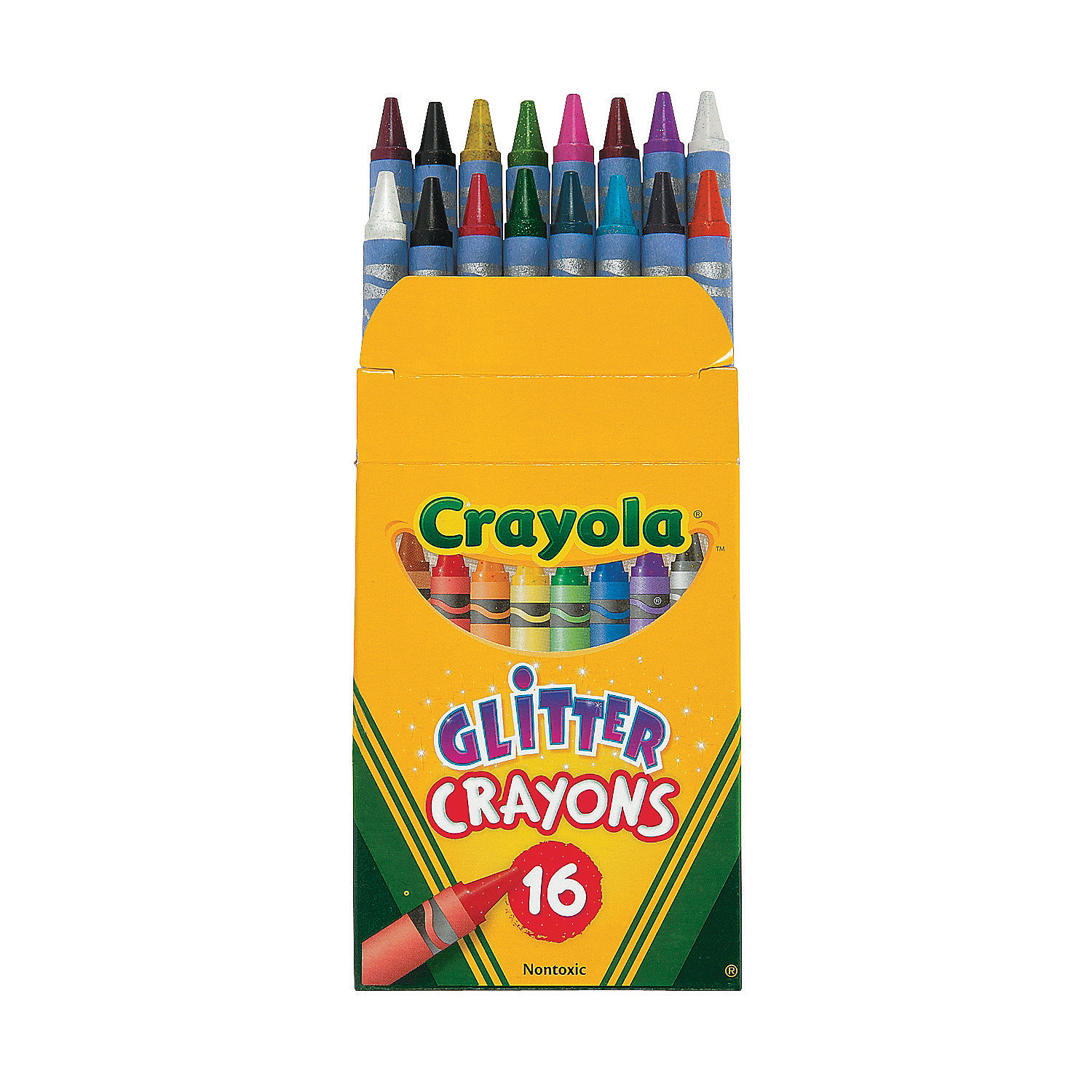 Fun Express - Crayola Glitter CrayonS-16 Colors - Basic Supplies - Drawing - Crayons - 16 Pieces