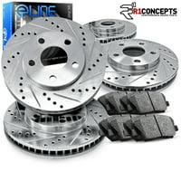 Fits 2003 2004 2005 2006 2007 Honda Accord Full Kit eLine Drill/Slot Brake Disc Rotors & Ceramic Pad