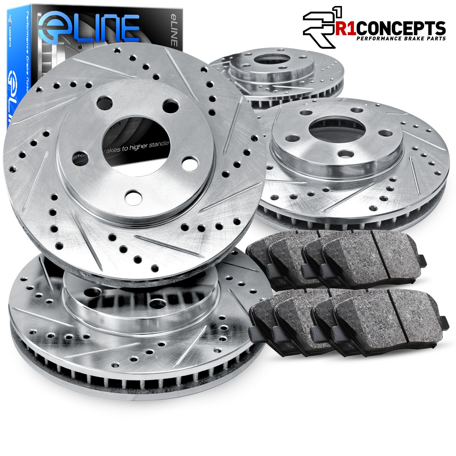 E-Coated Slotted Drilled Rotors + Ceramic Pads Fits: 2004 04 2005 05 Mazda RX-8 w//Sport Susp. Max Brakes Front /& Rear Elite Brake Kit KT006783
