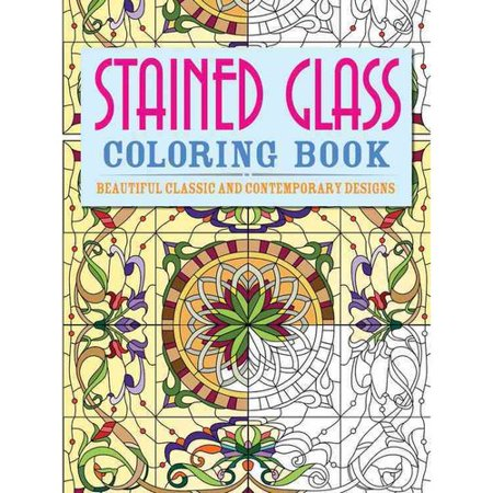 Stained glass adult coloring book beautiful classic and Coloring book walmart