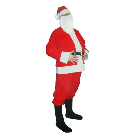 6-Piece Novelty Santa Claus Christmas Suit Costume - One Size Fits Most Adults (Funny Christmas Costumes Adults)