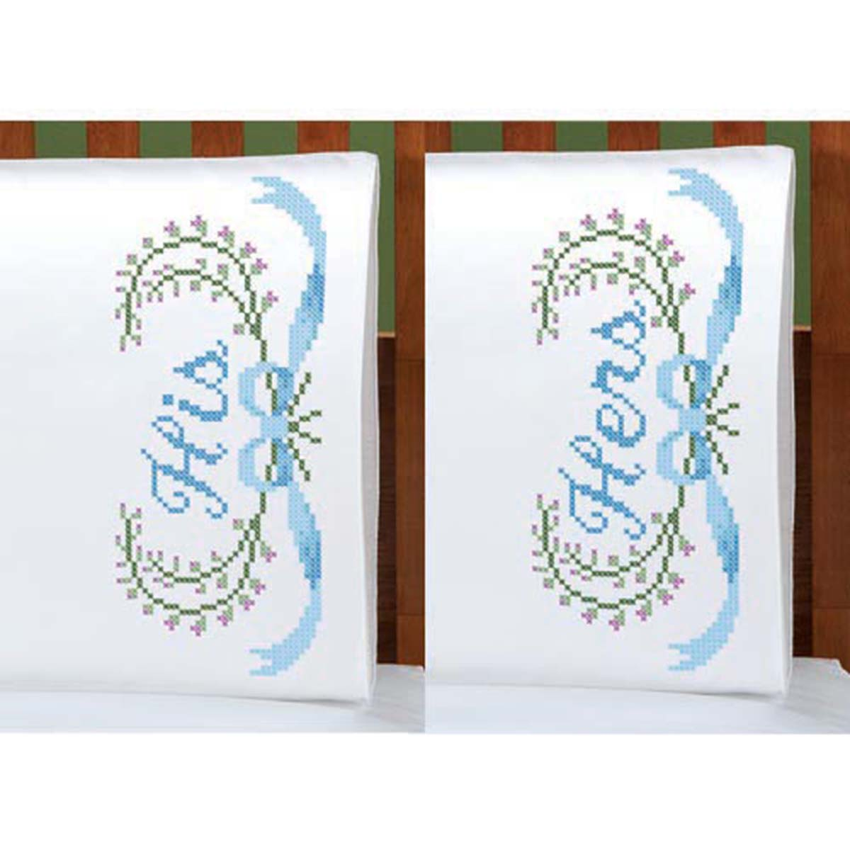 Herrschners®  His & Hers Pillowcase Pair Stamped Cross-Stitch