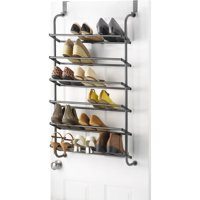 "Whitmor 6 Shelf Over the Door Shoe Rack - Gunmetal Gray - 7.5"" x 22.625"" x 41.8"""