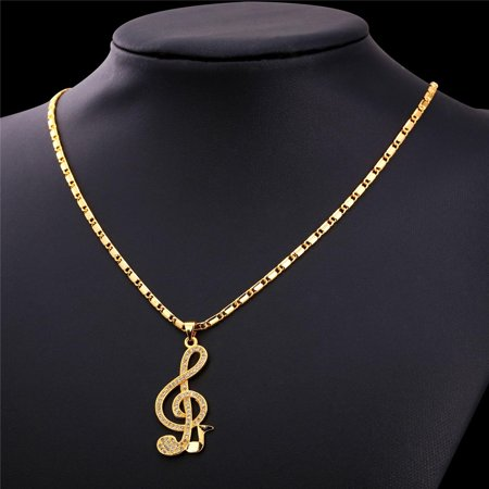 Luxury Women Musical Jewelry Pendant Necklace New Trendy Gold Plated Zirconia Music Note symbol Necklace  Pendant Size:4.1cm (1.6inch) Length:55cm