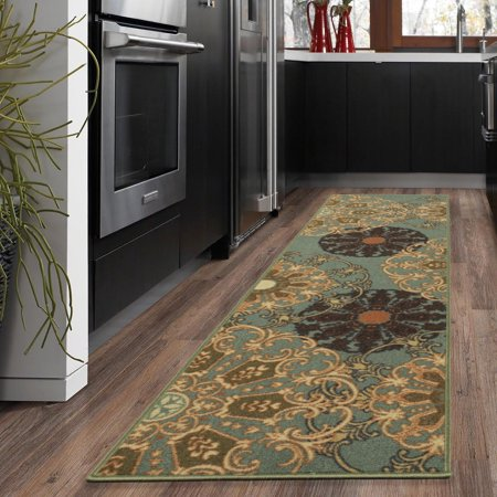 Ottomanson Ottohome Collection Contemporary Damask Design Non-Slip Rubber Backing Area or Runner Rug (Rugs For Kitchen)