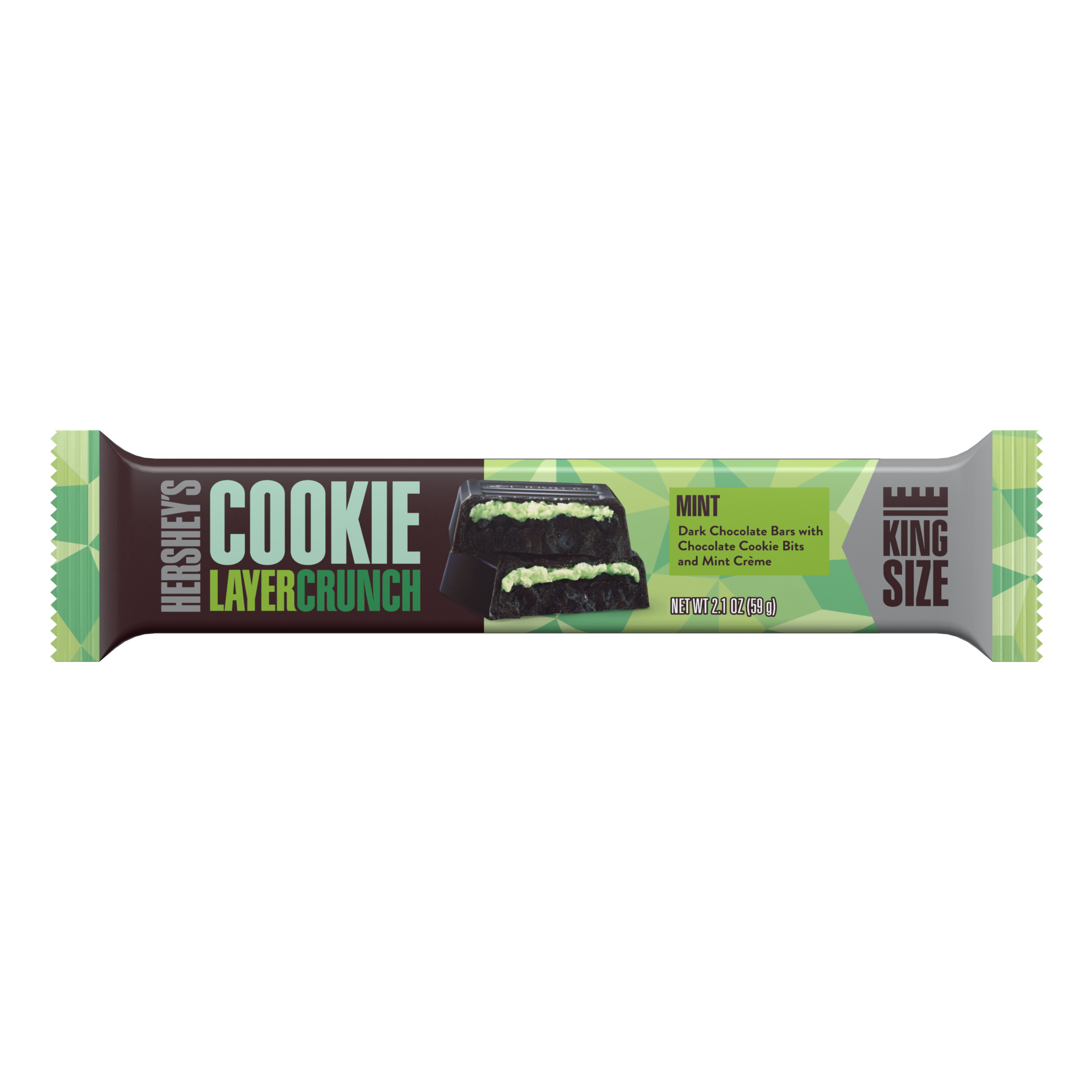 Hershey's Cookie Layer Crunch, Mint Dark Chocolate King Size Bar, 2.1 Oz