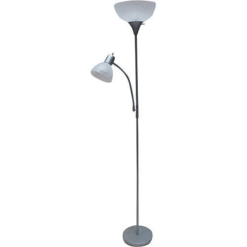 Mainstays Combo Floor Lamp In Silver With Bonus CFL Bulb Walmartcom - Bedroom lamps at walmart