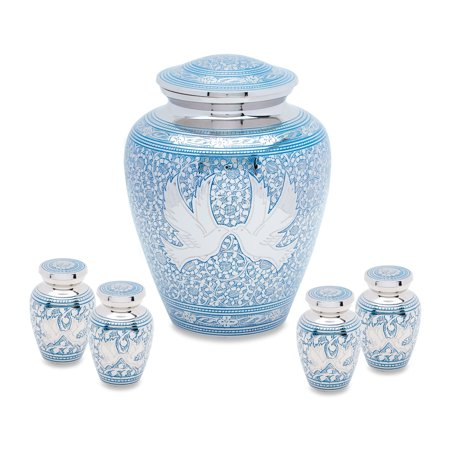 Urnsdirect2U Blue Loving Birds Adult Urn with 4 tokens