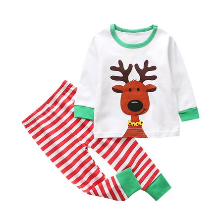 Mosunx Toddler Kids Baby Girl Boy Christmas Deer Outfits Clothes T-shirt Tops+Pants Set