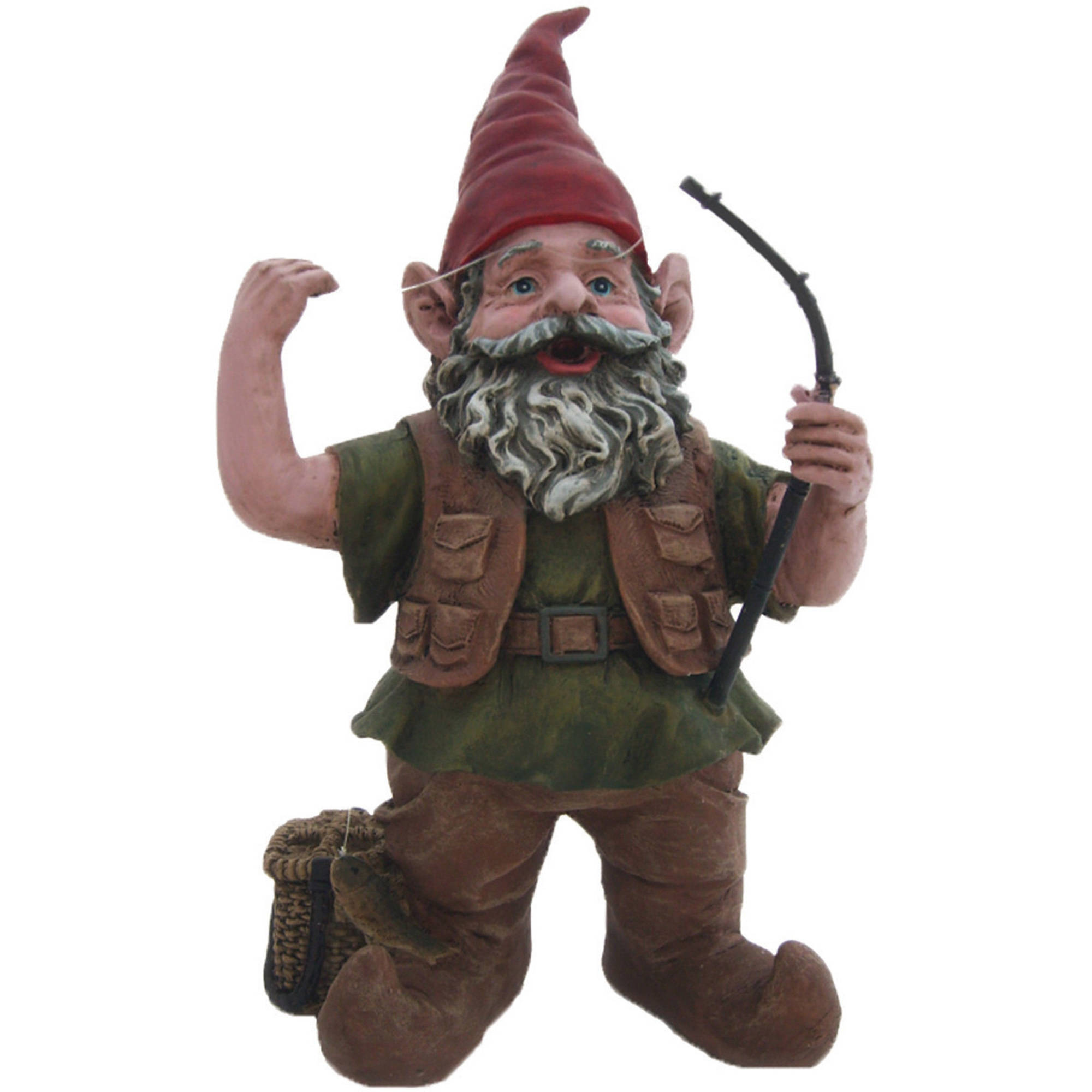 "Nowaday Gnomes ""Fisherman the Gnome"" Garden Gnome Fisherman Holding a Fishing... by GSIHomeStyles"