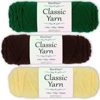 Soft Acrylic Yarn 3-Pack, 3.5oz / ball, Green Paddy + Brown Coffee + Yellow Maize. Great value for knitting, crochet, needlework, arts & crafts projects, gift set for beginners and pros alike