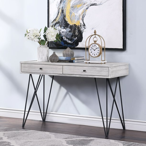"""Coast to Coast Aspen Court 47"""" Wide Rubbed White 2-Drawer Console Table"""