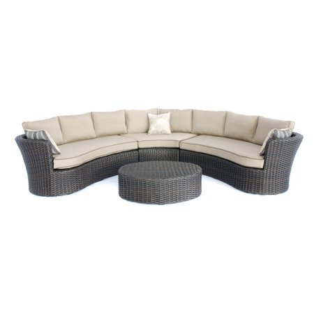 Creative Living Sectional Sofa Ottoman Table Mahogany Wicker