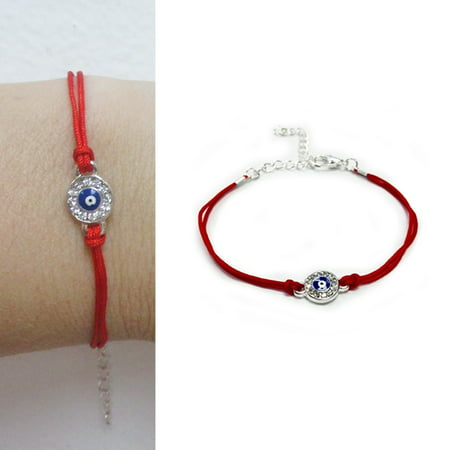 Evil Eye Mati Hamsa Charm Cubic Zirconia CZ Crystal Bracelet Lucky Red String ()