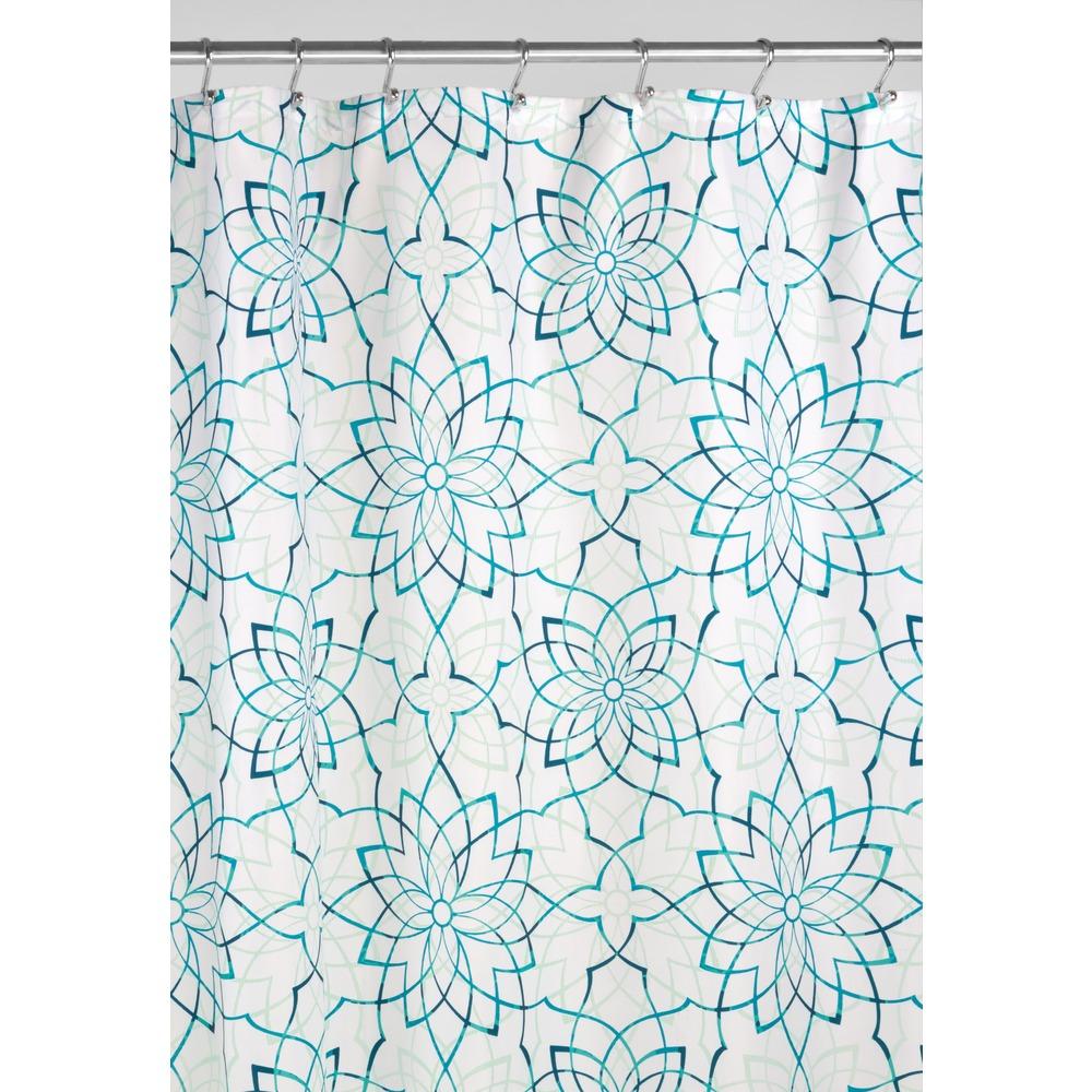 "InterDesign Kenzie Floral Fabric Shower Curtain, 72"" x 72"" Deep Teal by INTERDESIGN"