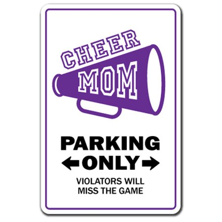 CHEER MOM Decal leader cheerleader gear poms megaphone cheers | Indoor/Outdoor | 12