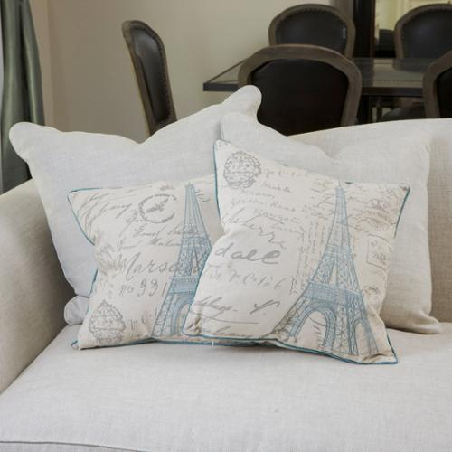Graci Embroidered Eiffel Tower Linen Pillows (Set of 2)