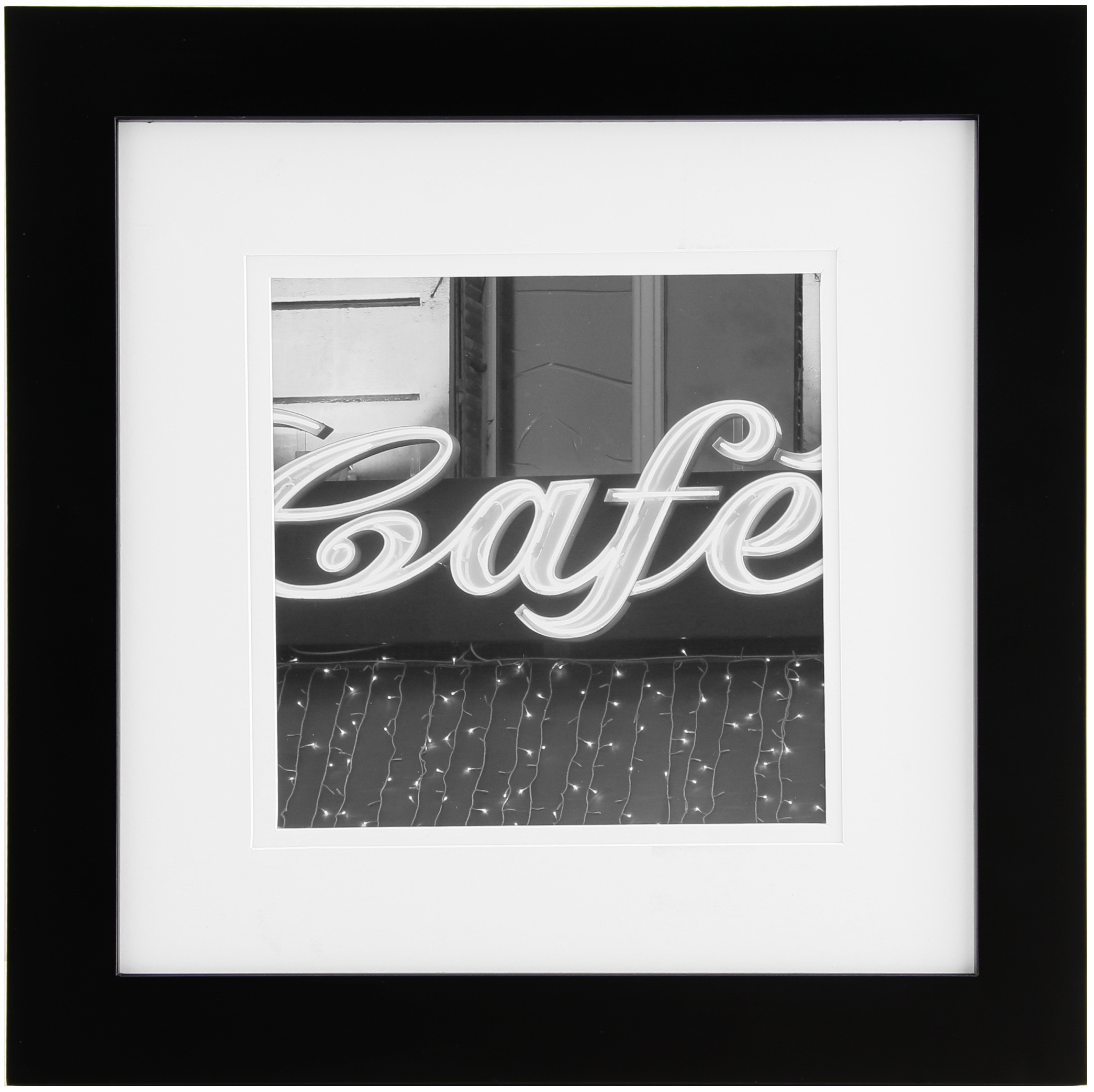 Gallery Solutions 12x12 Black Gallery Frame, Matted to 8x8