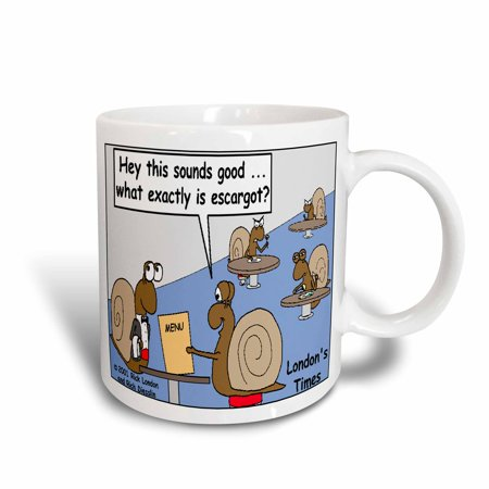 Ceramic Escargot - 3dRose Snail Orders Escargot , Ceramic Mug, 11-ounce