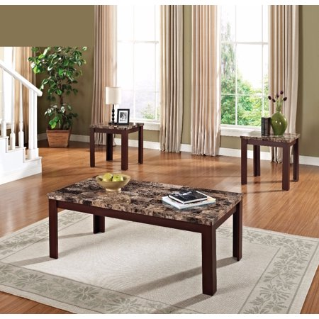 Finely Coffee End Table Set Light Brown Cherry Pack Of 3 Pieces