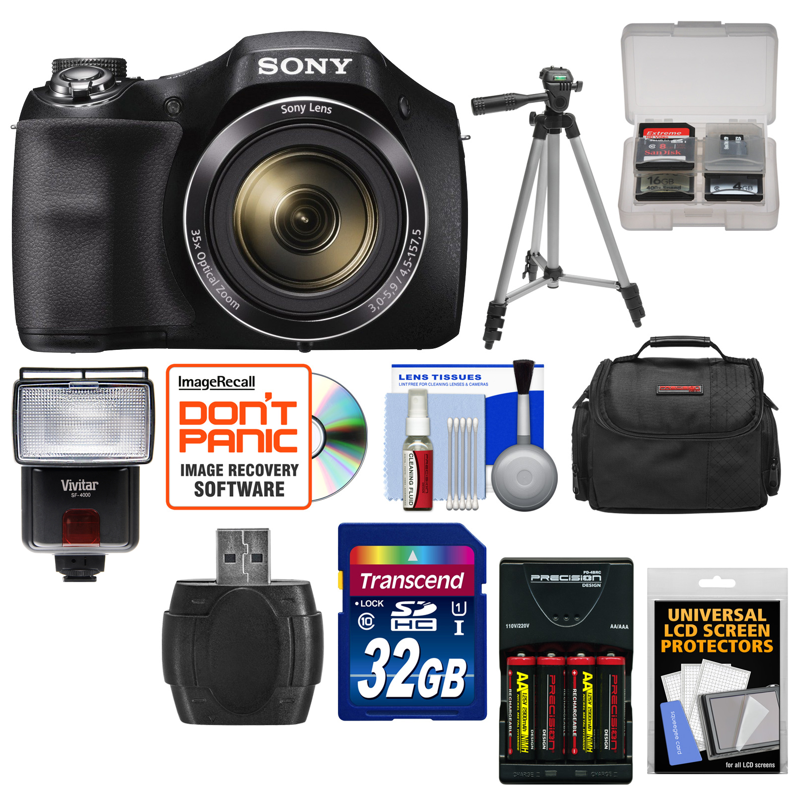 Sony Cyber-Shot DSC-H300 Digital Camera with 32GB Card + Batteries & Charger + Case + Tripod + Flash & Video Light + Kit