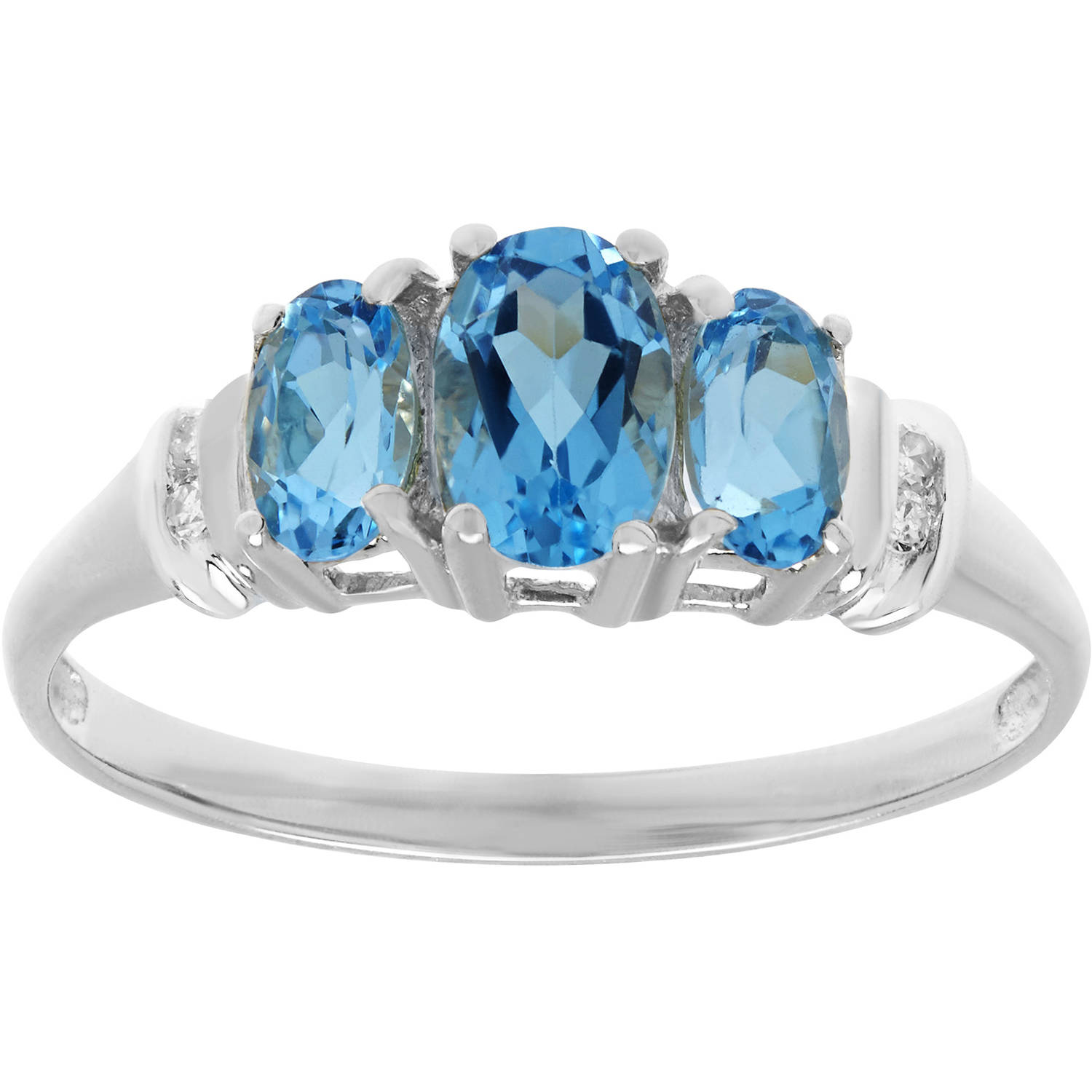 Simply Gold Gemstone Threestone Oval-Cut Blue Topaz with Diamond Accent 10kt White Gold Ring, Size 7 by Richline Group Inc