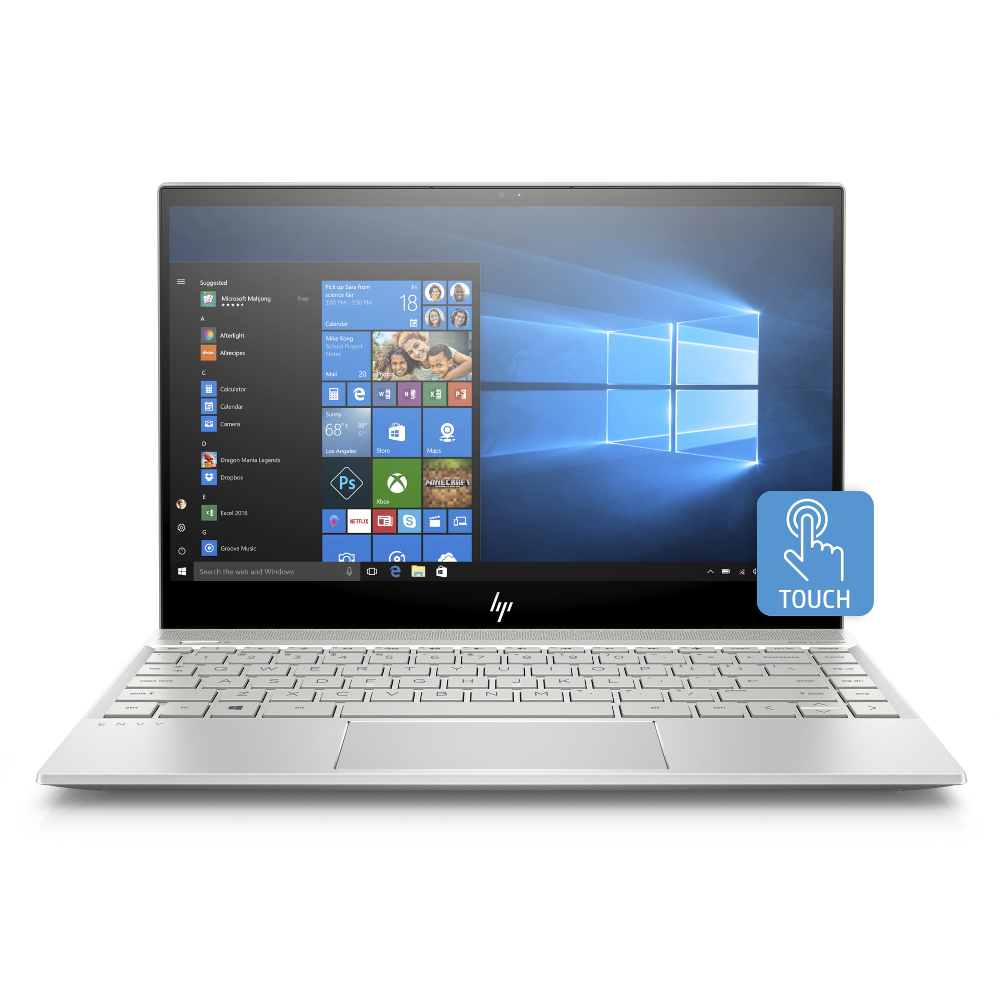 HP Envy 13-AH0010NR Natural Silver 13.3 inch Touch Laptop, Windows 10, Core i7-8550U QC Processor, 8GB Memory, 256 GB... by HP