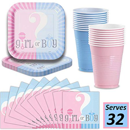 Gender Reveal Decorations Kit For Party: Plates, Cups, Napkins - Serves 32-9